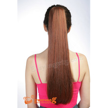 Wholesale synthetic red color claw clip in cosplay ponytail hair pieces for two way use