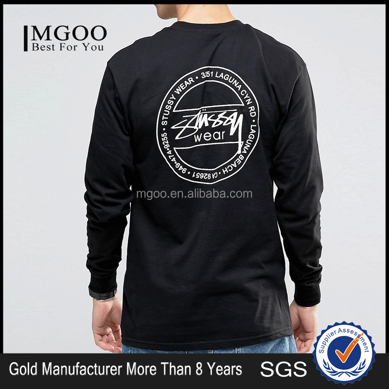 MGOO Hot Sale Hip Hop Tee Shirt 100 Cotton Long Sleeves Chest Printed Logo Back Black T Shirt For Mens