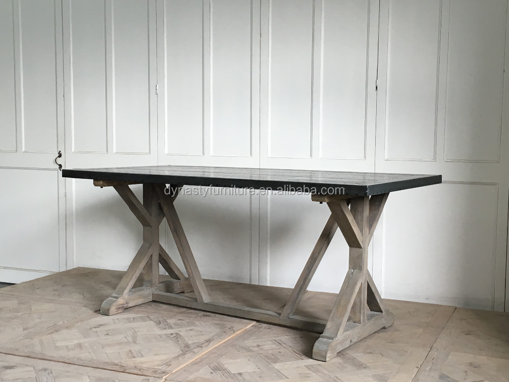 industrial style zinc top wooden design dining tables