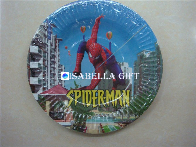 "Hot sale !!7"" Disposable Spider-Man paper plate for kids"