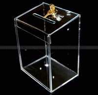 Oblong Flip cover Acrylic Ballot box/Acrylic Donation Collection Charity Box