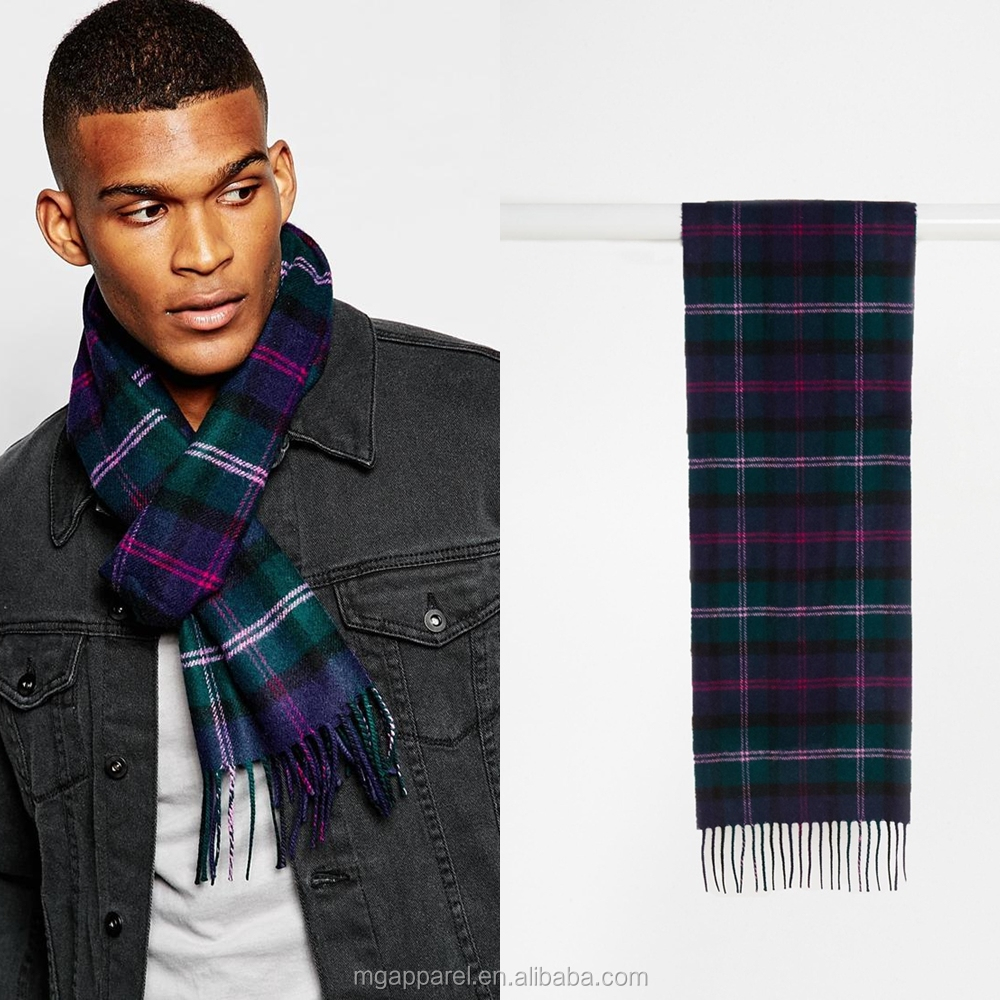 Wholesale custom fashion Lambs Wool tartan scarf for men