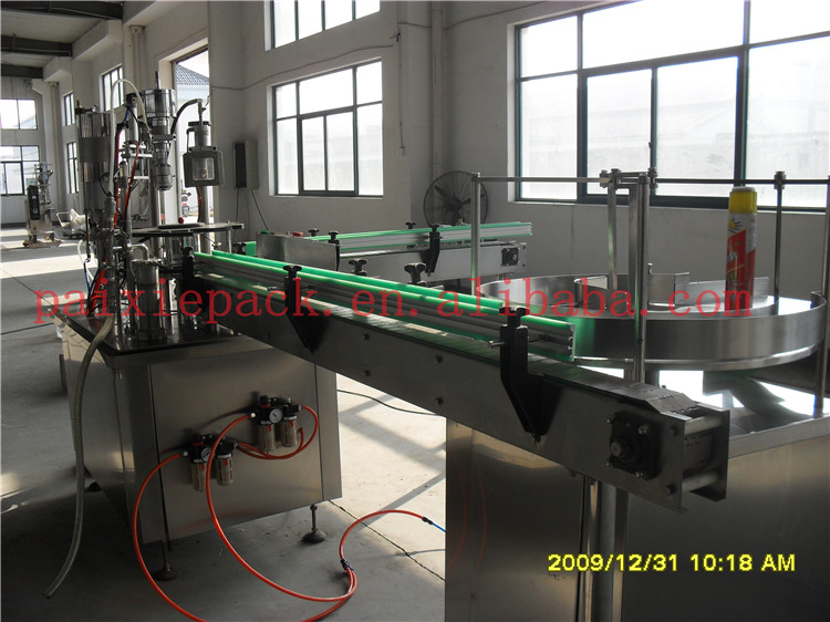 Trade assurance supplier aerosol fillers in uae aluminum bottle aerosol spray packing line with PLC controlled