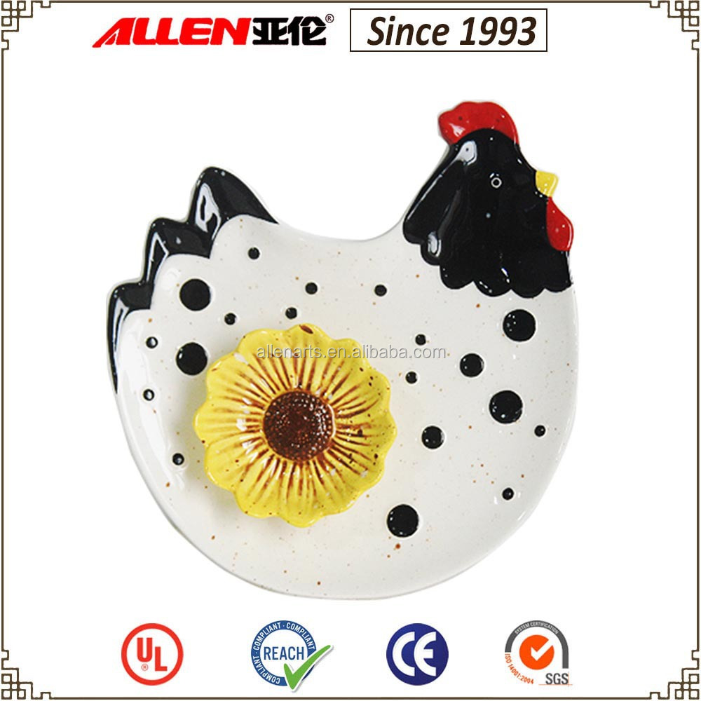 "8.1"" w black and white ceramic chicken shape plate, animal shape plate"