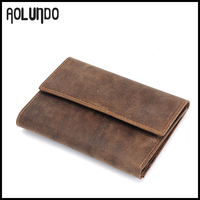 Trendy design genuine leather coin purse 3 fold wallet