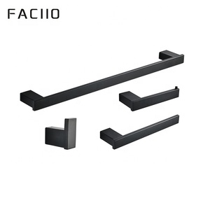 FACIIO Wall Mounted 304 stainless steel bathroom black 4 pcs accessory set