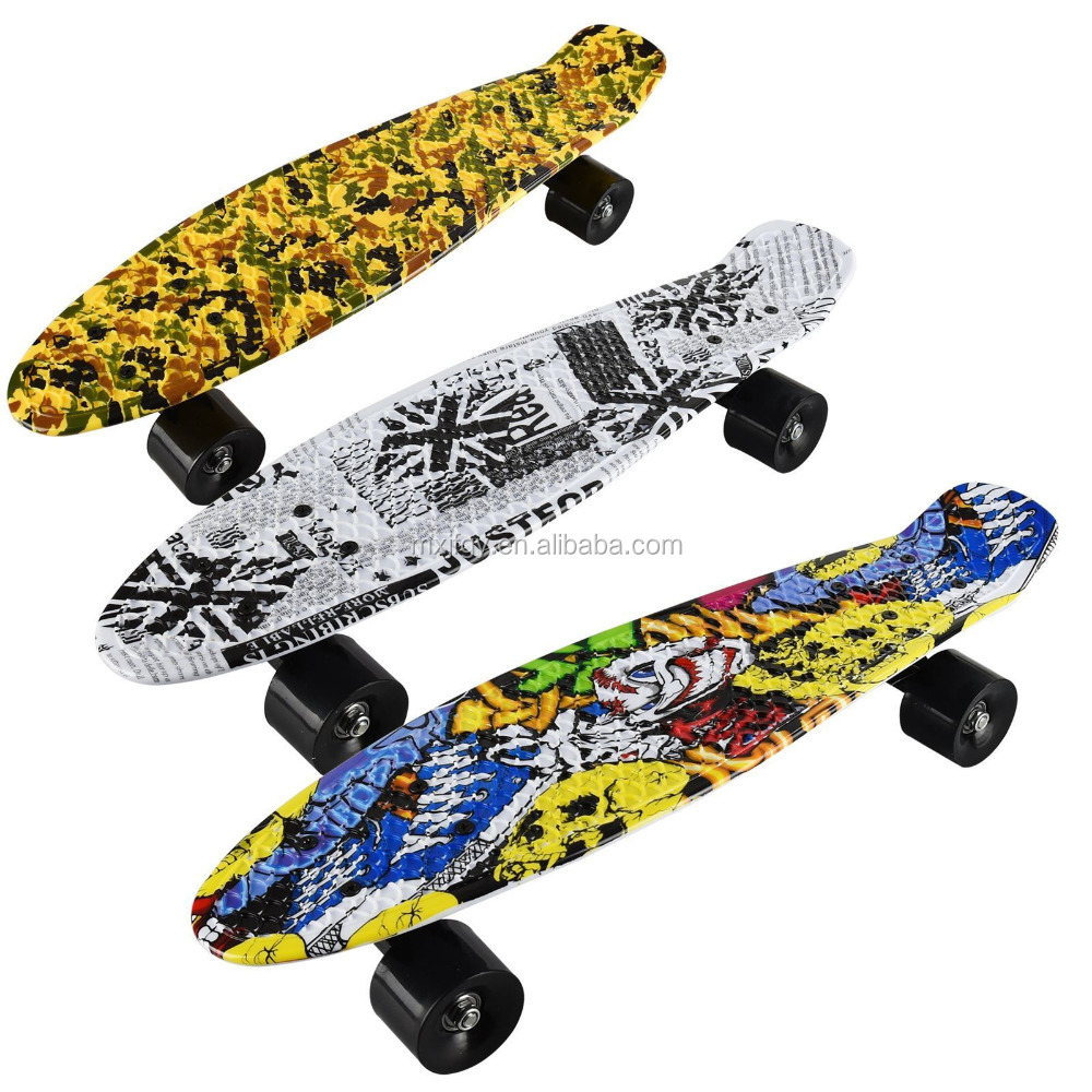 4 wheel cool water transfer cruiser plastic skateboard longboard