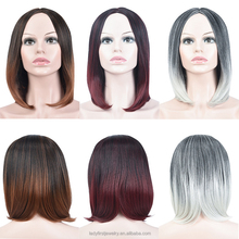Medium Hair Style Retro Black and Grey Women 's Gradient Wigs Synthetic Hair