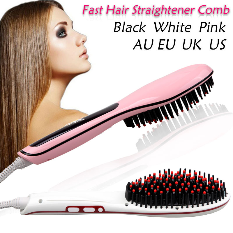OEM Private Gorgeous professional electric magic steam ceramic hair straightening brush comb hair straightener comb