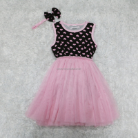 Girl sweet pink heart tutu dress tulle dress with cute bow