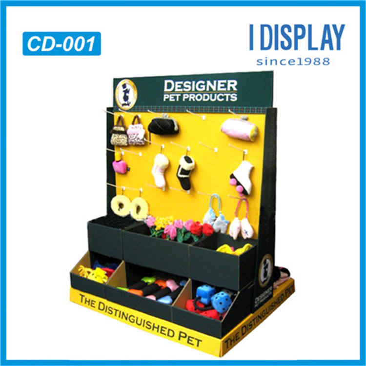 custom new design cardboard pos portable countertop display with hook