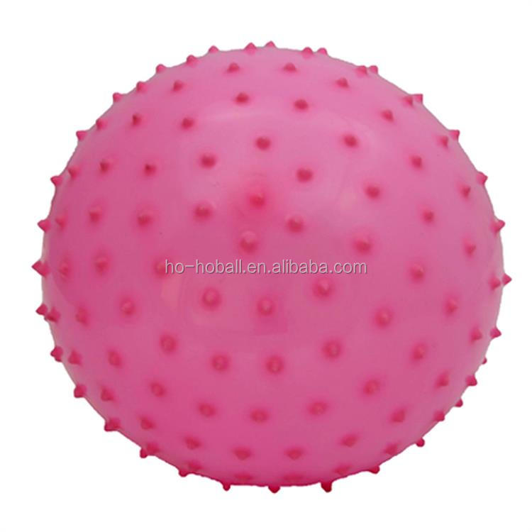 Inflatable 6 inch pink knobby spike ball for kids play