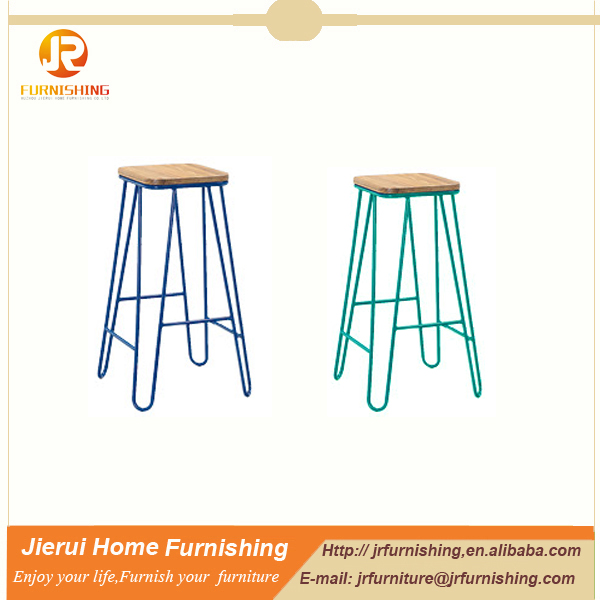Cheap high quality metal frame bar stool with wooden seat