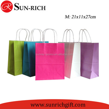 Custom Logo Printing Eco Friendly Recycle Plain Kraft Paper Bag With Twisted Handle paper bag