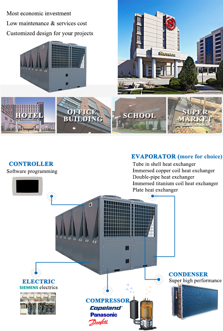 No MOQ 125 ton air chiller for air conditioning