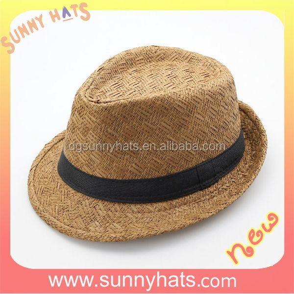 Cheap wholesale promotion Cool Summer customized China paper straw fedora hats