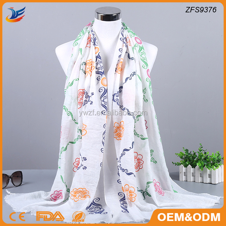 Polyester and Rayon material printed soft warm scarf