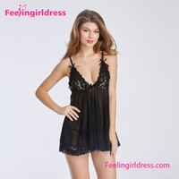 Wholesale Spaghetti Strap Black Transparent Sexy See Through Sleepwear