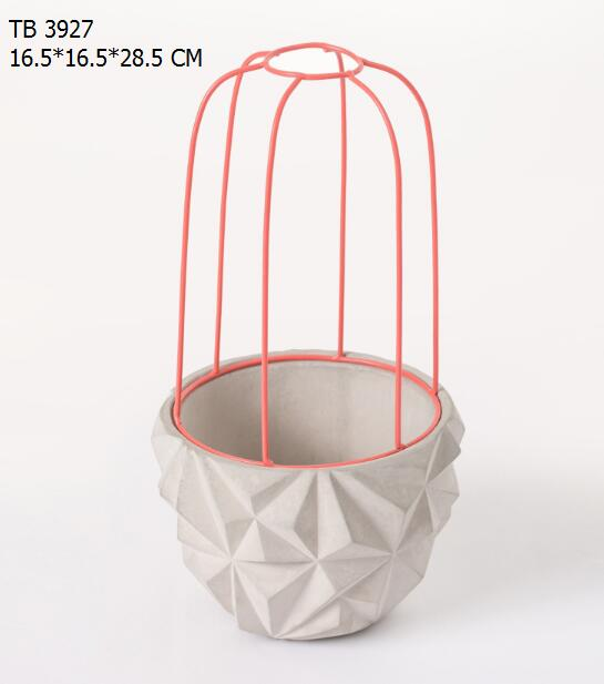 Decorative garden bottom Stereo diamond wire combined cement flower pot