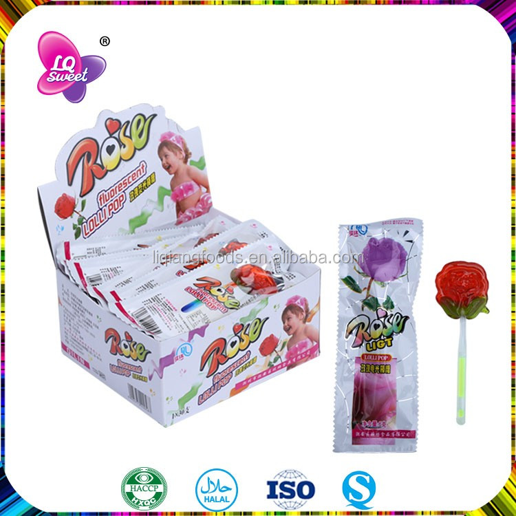 Strawberry Fruit Flavor Rose Lollipop Candy