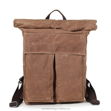 Multi colors fashion handmade high school custom canvas laptop backpack waxed canvas rucksack