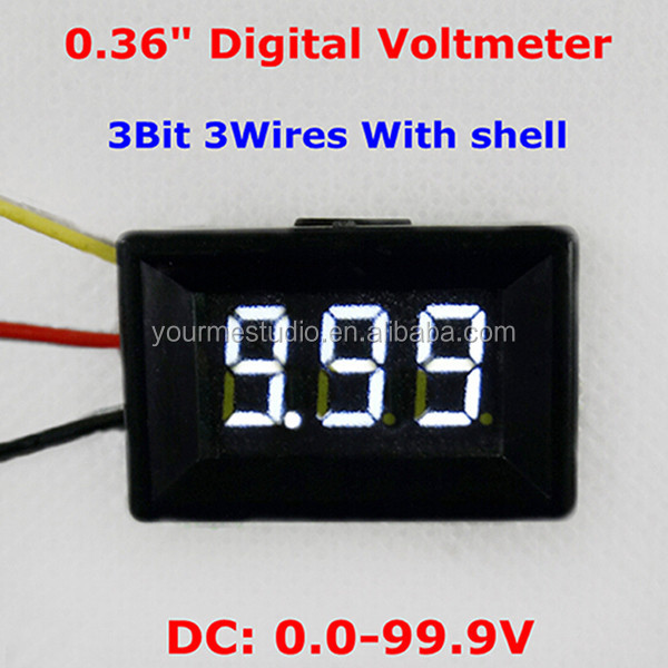 0.36 Inches 3 Wires DC 0-100V 3 Digits White Led Digital Voltage Panel Meter With Shell
