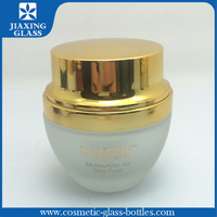 Trade Assurance luxuri cosmet packag frosted glass cosmetic cream jar with plastic lip