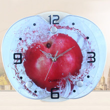 Fruit design glass wall clock