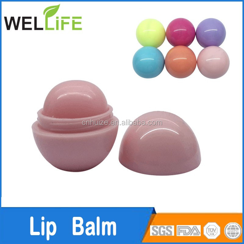 Ningbo huize special promotional ball shape lip balm with SPF15