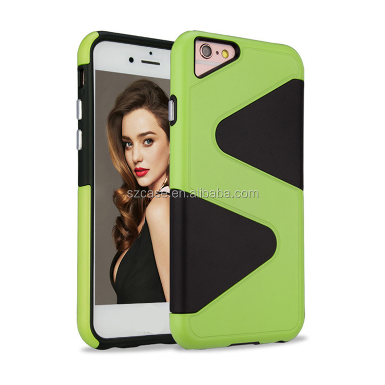 Fashion S design cell phone case for iphone 7 plus, for iphone 7 case tpu pc shockproof cover