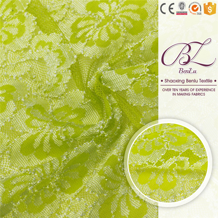 Beautiful olive green nylon spandex embroidery lace fabric for curtain or party dress