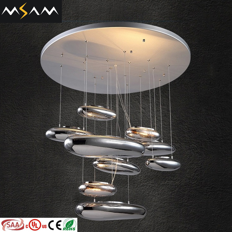 Modern Silver Glass pendant lamp chandelier lightings in zhongshan lighting factory E5190