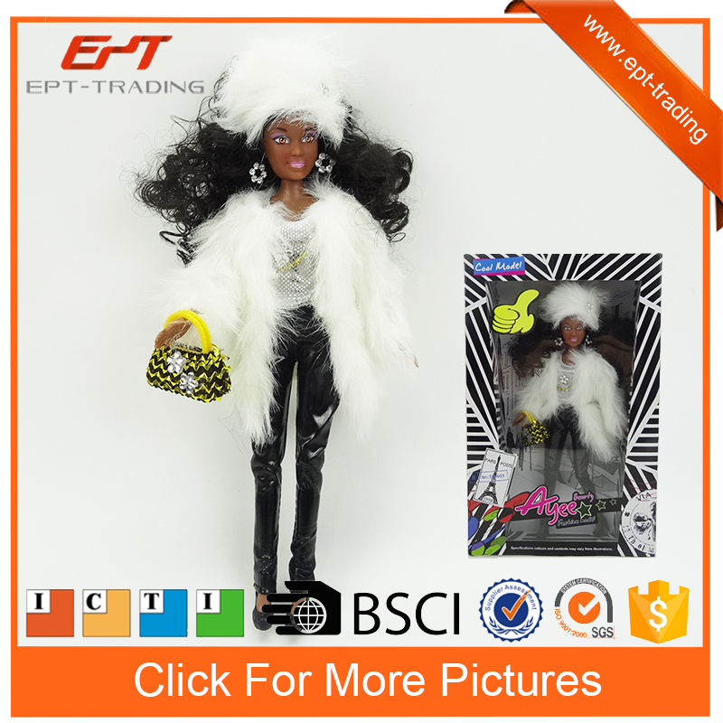 Lovely 12 inch fashion black american girl doll toy for kids