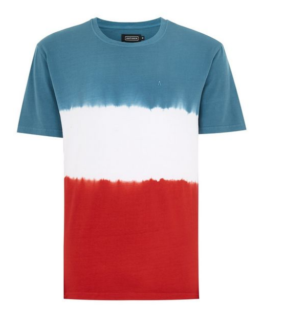 Red White And Blue Tie Dye Classic Fit Embroidered T-Shirt