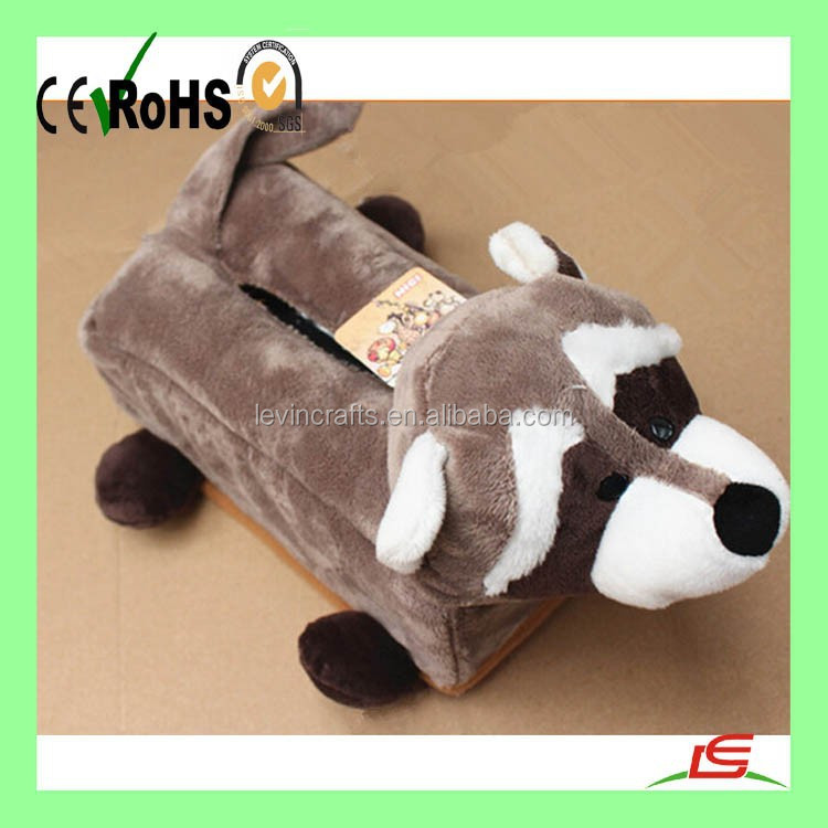 Soft raccoon hippo zebra elephant Plush Animal Tissue Box Cover