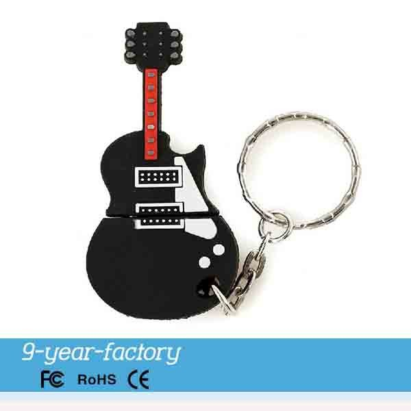 PVC guitar shape usb 2.0driver with keychain