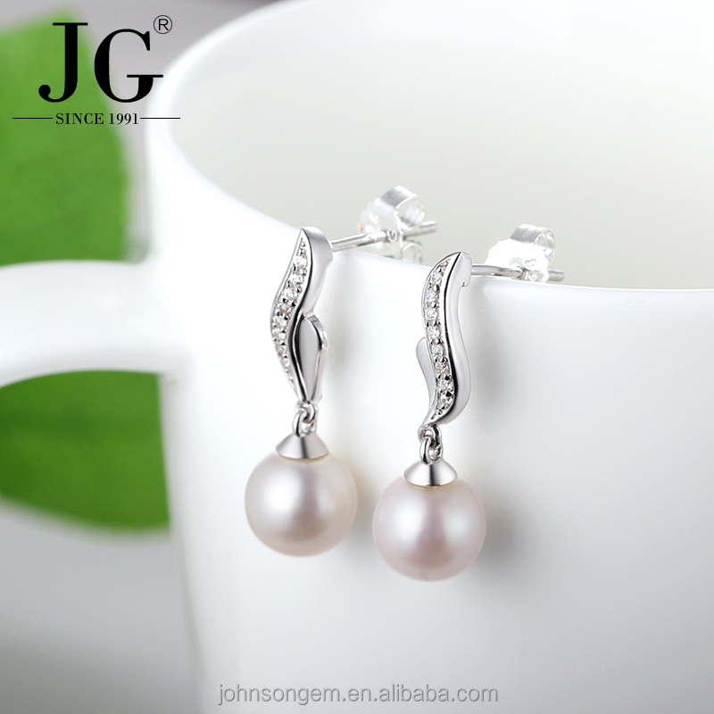2017 Latest Pearl Drop Earrings Fashion Design, Natural Fresh Water Pearl with White Zircon Stone Hanging Earrings