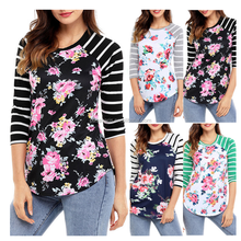 AL2992W Hot !!! fashion long sleeve ladies tops blouse cotton t shirt casual women floral striped shirt