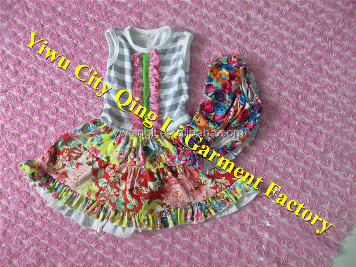 2014 Newest Baby Girl Party Dress with Floral Bloomers 2 piece Baby Girl Matching Clothes Set