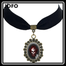 Fashion Pendant The Punisher Necklace young lady black velvet Choker