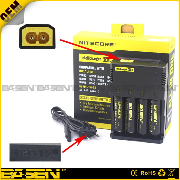 Newest Nitecore i4 charger 18650 solar battery charger for IMR/Lifepo4/NiMh/NiCd AA AAA 18650 battery charger nitecore charger