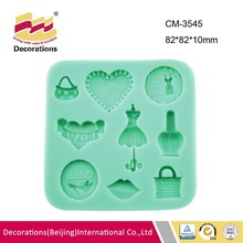 Multi hole silicone fondant mold for fondant chocolate candy soap polymer clay resin craft heart nail polish shoes bag