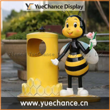 Outdoor Cartoon Bee Fiberglass Dustbin