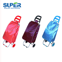 Polyester 35 L supermarket folding shopping trolley cart