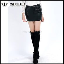 Women's New Fashion Black Slim Sexy Casual Solid Tight Short Leather Mini Skirt