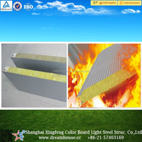 heat-resistant glass wool composition sandwich roof panel/ colored fiberglass rock wall panel