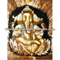 "Indian Indian Elephant Face GoElephant Face God Lord Ganesh Ganesha Cotton Fabric Tapestry Batik Painting Wall Hanging 22"" X 16"""