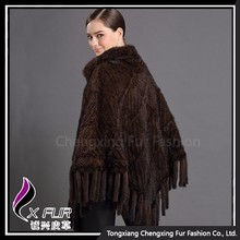 CX-B-M-62H Hot Selling Knitted Mink Fur Shawl For Evening Dress
