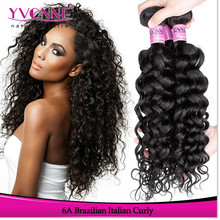 Wholesale grade 6a brazilian italian curly human hair extension