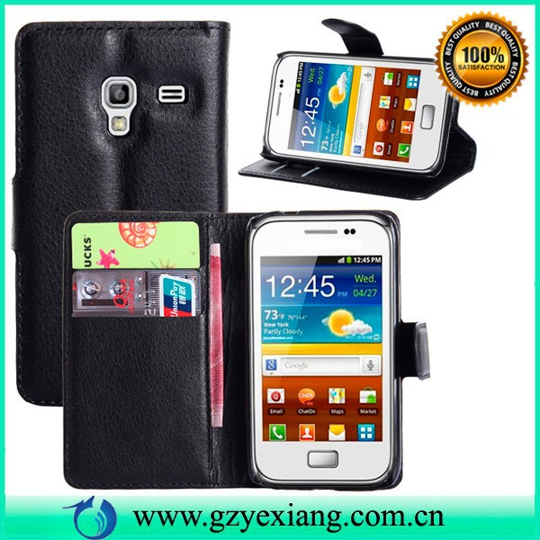 Wholesale folio PU leather cover for samsung galaxy ace plus s7500